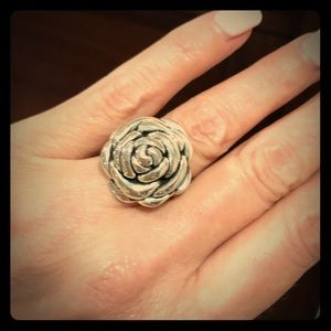 Sterling Silver Rose / Flower Ring size 6